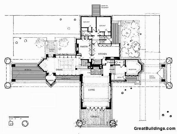 Willits house planta baja wright pinterest lloyd for Meyer may house floor plan