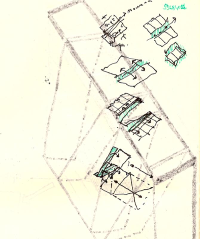 [Dibujo: Croquis del modelo estrucutural con circulación.]